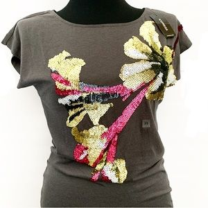 Express Sequined Graphic Tee w/Flower Design